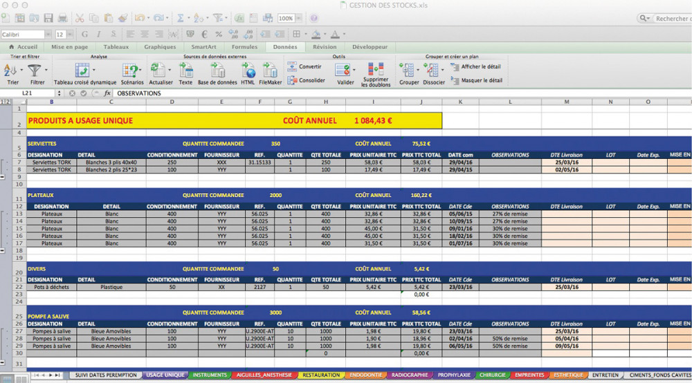 Fichier excel et gestion des stocks - L'Information Dentaire